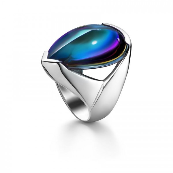 Baccarat Psydelic Blue Scarabee Ring Silver