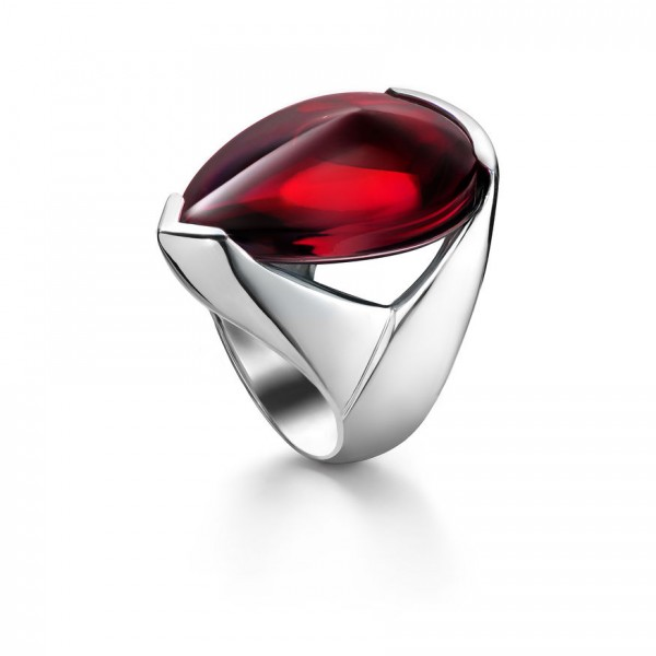 Baccarat Psydelic Iridescent Red Silver Ring