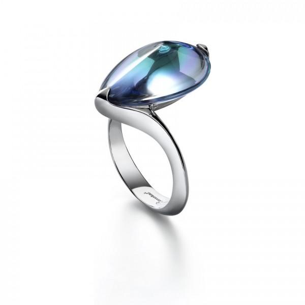 Baccarat Fleur de Psydelic, Aqua Mirror Silver Ring