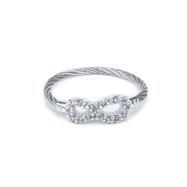 Charriol Laetitia Ring Grey Steel PVD With White Topaz