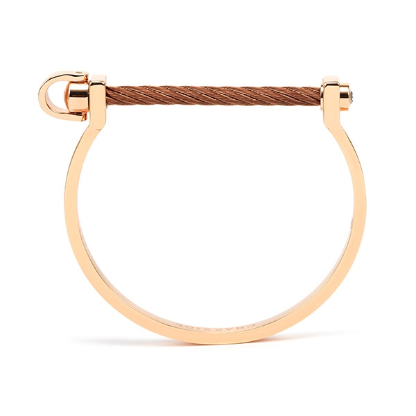 Charriol Pont d'Amour Bangle Steel Rose Gold PVD Steel and Bronze Cable