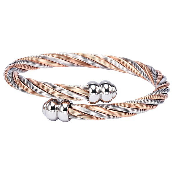 Charriol Celtic Bangle Steel Cable and Rose Gold PVD