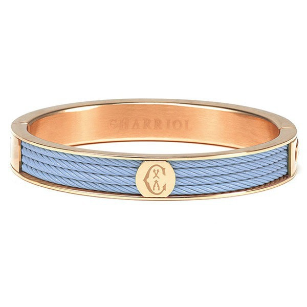 Charriol Steel Rose Bangle Light Blue PVD Cable