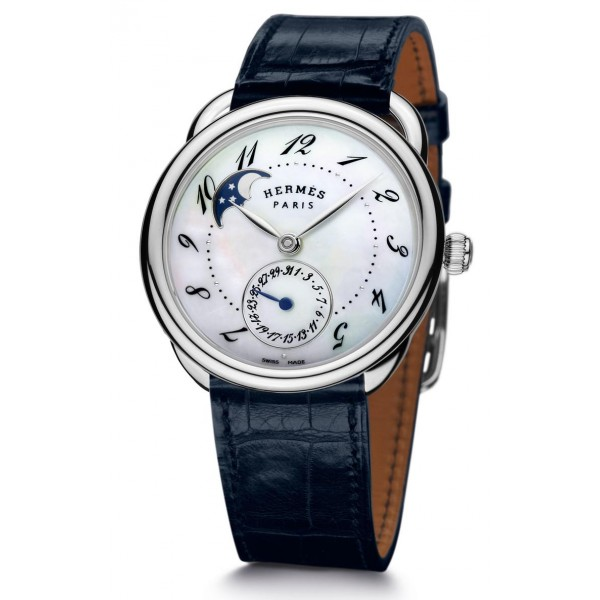 Hermes Arceau Petite Lune watch, large model 38 mm
