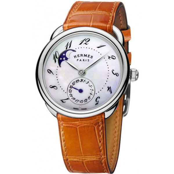 Hermes Arceau Petite Lune watch, large model 38 mm
