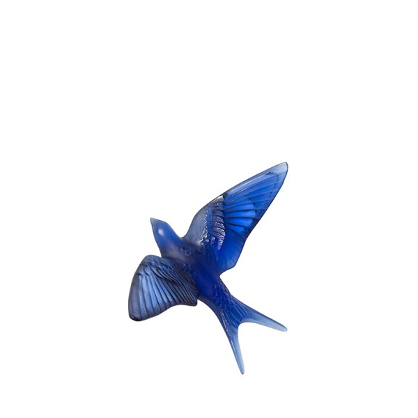 Lalique Swallow Wall Sculpture Sapphire Blue Crystal