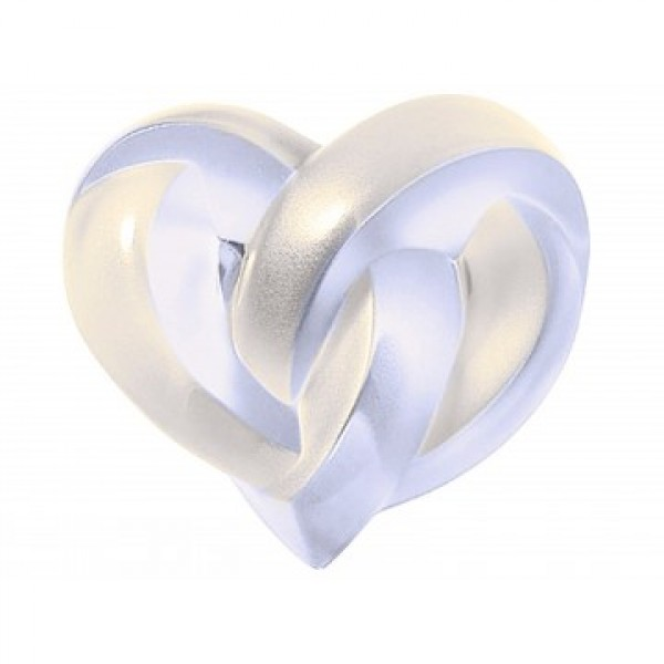 Lalique Interlaced Hearts Paperweight Pearl