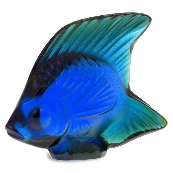 Lalique Fish Cobalt Blue Luster