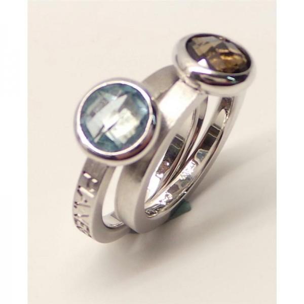 Pianegonda Blue Topaz/ Brown Quartz Silver Ring