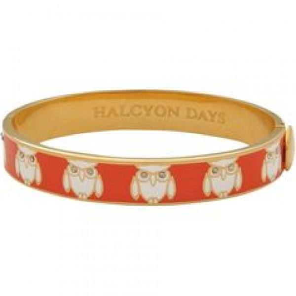 Halcyon Days Owl Orange and Cream Gold Bangle