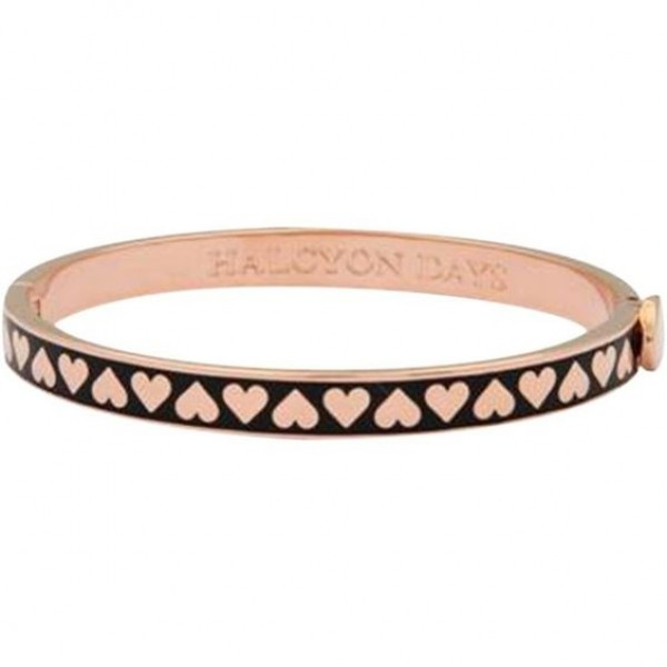 Halcyon Days Skinny Heart Black and Rose Gold Bangle