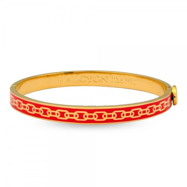 Halcyon Days Skinny Chain Red and Gold Bangle