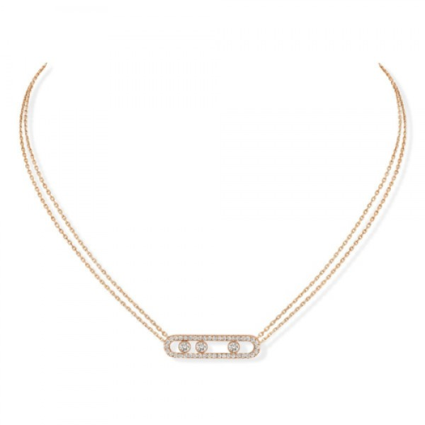 Messika Move Pave Necklace Pink Gold