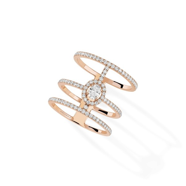 Messika Glam'Azone 3 Rows Pave Rose Gold Ring