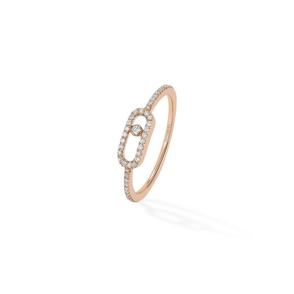 Messika Move Uno Pave Diamond Pink Gold Ring