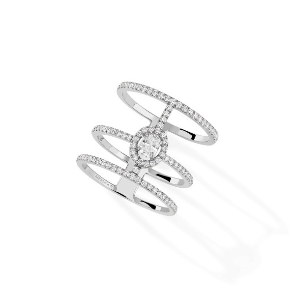 Messika Glam'Azone 3 Rows Pave White Gold Ring