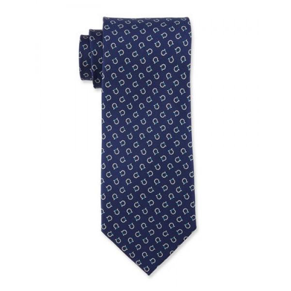 Salvatore Ferragamo -  Navy Gancini Print Tie