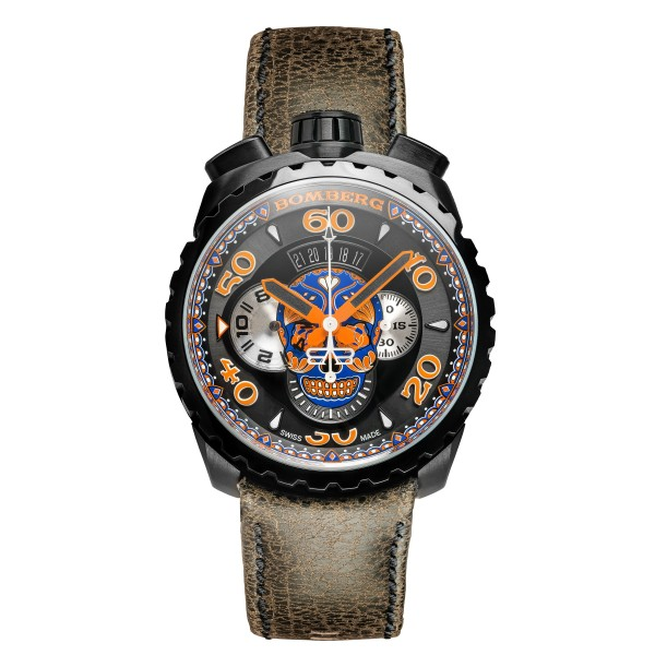 Bomberg Bolt 68  Black - Orange - Blue Skull 45mm Chronograph